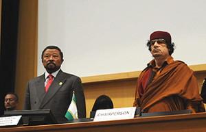 Jean Ping et Mouammar Kadhafi